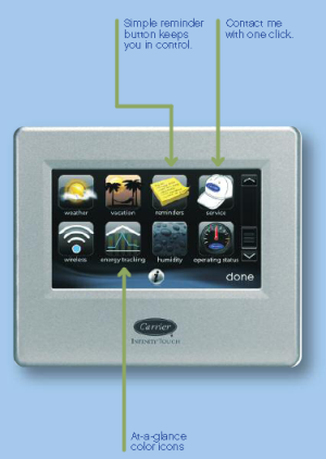 Easy to use icons appear on the screen.  You can even contact Bartlett Heating and Cooling from the touch of a button on the thermostat screen!